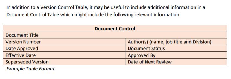 document control version control